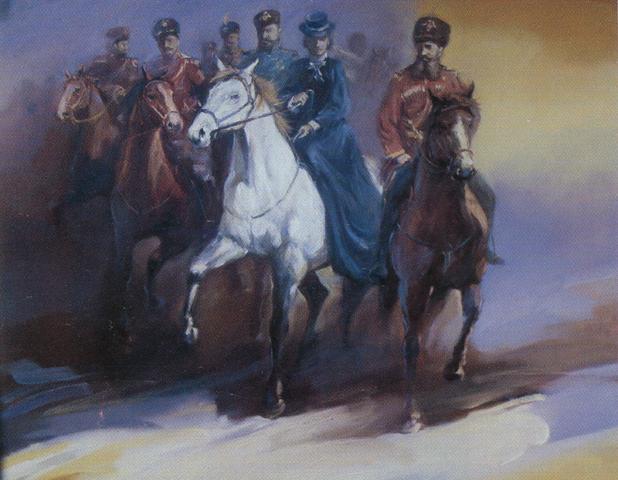 На императорской охоте (Александр III и Мария Федоровна)